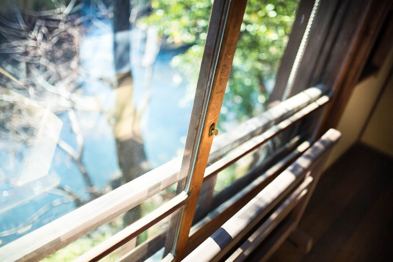 窓 越し 日光浴